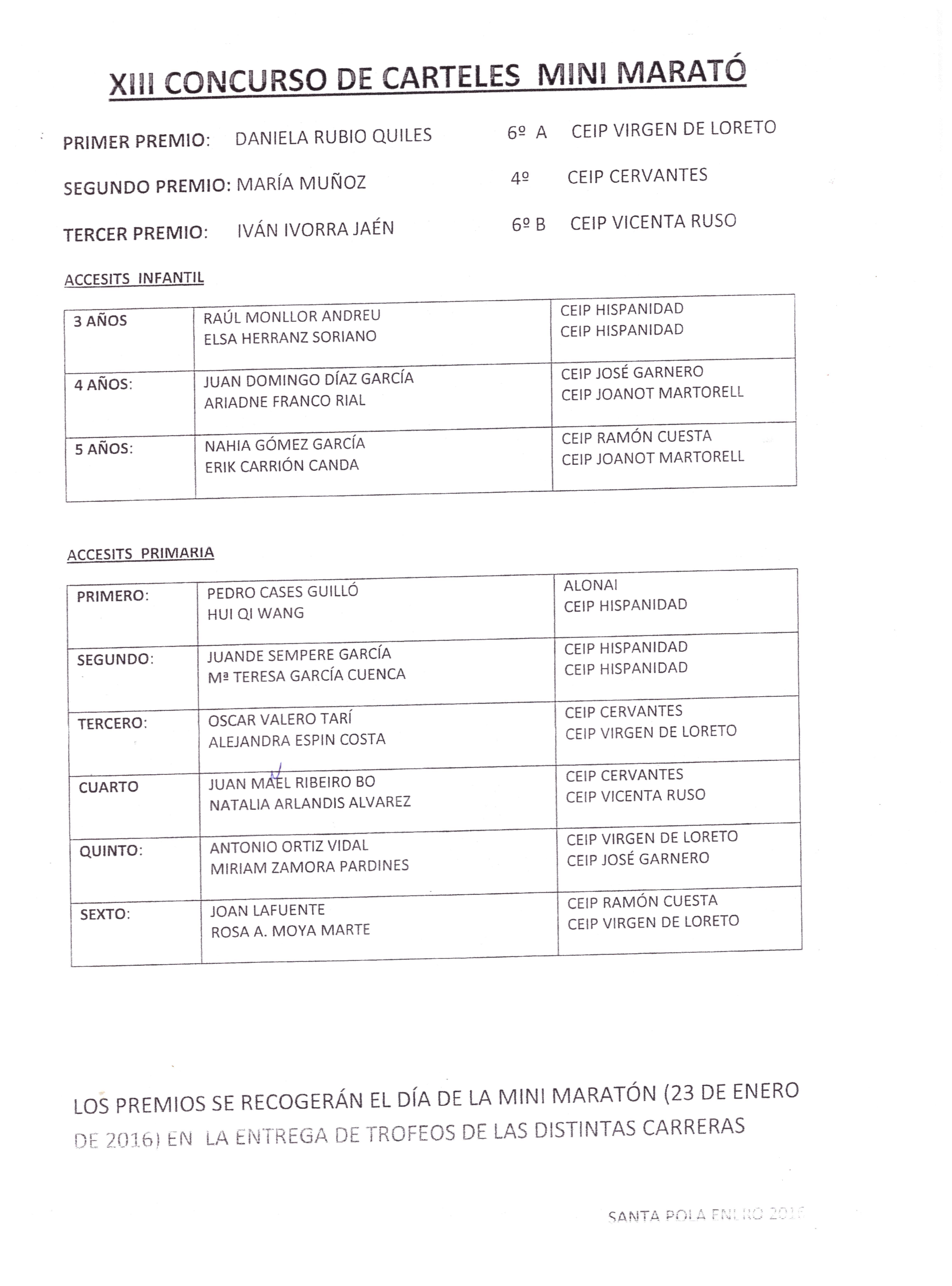 GANADORES CARTEL MINI MARATÓN
