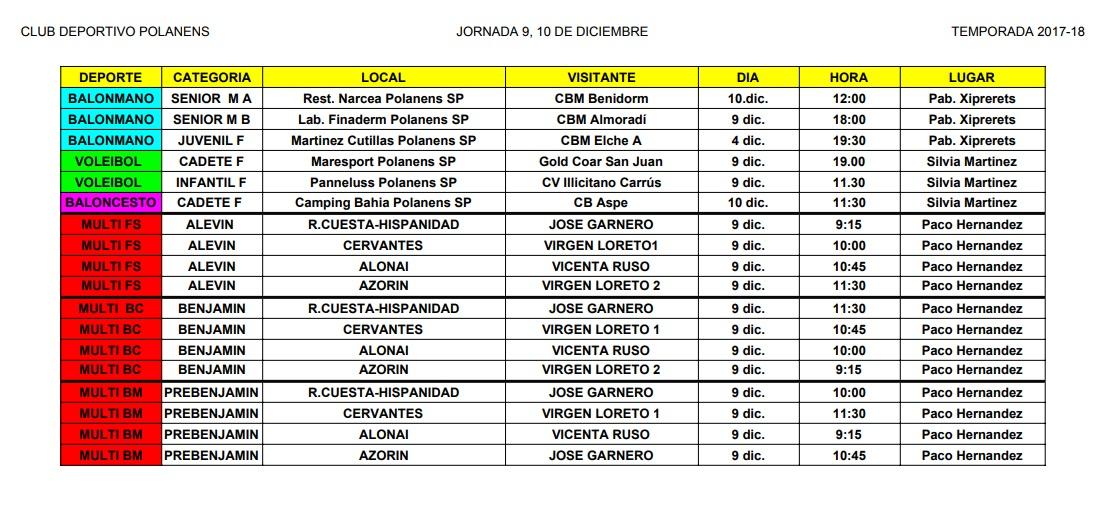 horarios9 y 10 diciembre